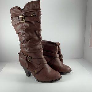 Rampage Ibran Brown Tall Heeled Boots Size 8.5